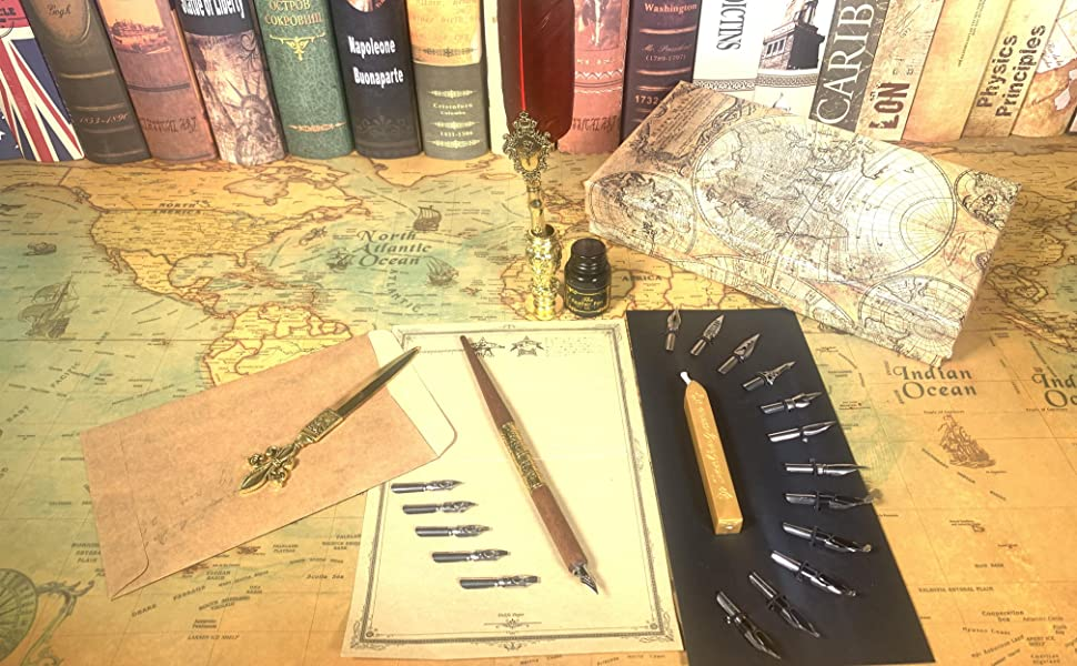Feather quill pen wood dip pen and ink set