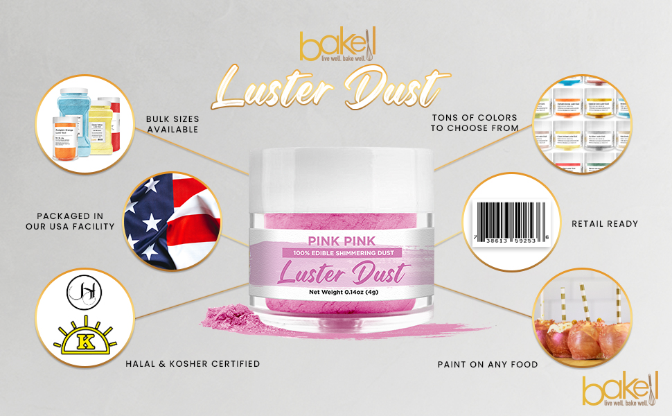 Bakell Pink Luster Dust Made in the USA