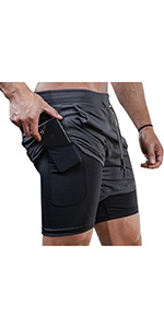Superora Mens Running Gym 2 in 1 Sports Shorts Breathable Outdoor Workout Training Shorts Pockets