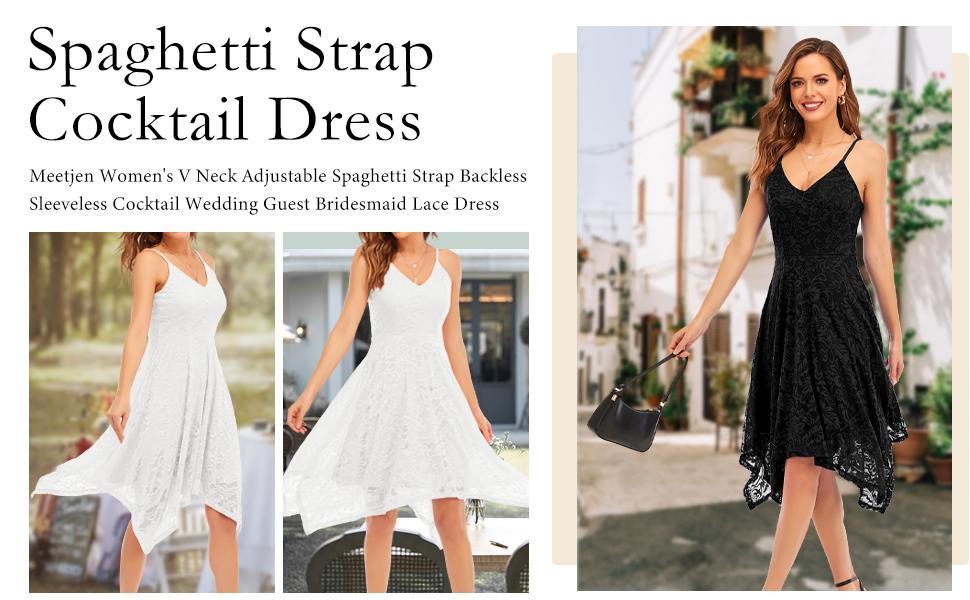 Meetjen spaghetti strap bridesmaid cocktail lace dress