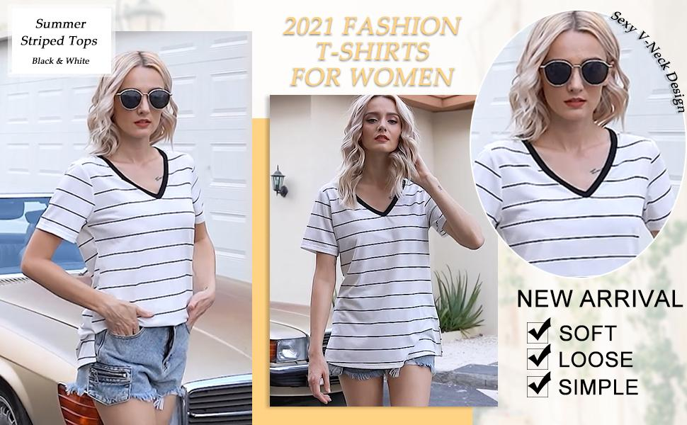 Womens Tshirts Loose Fit Striped