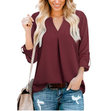 red blouses pleated chiffon roll sleeve casual blouses for summer women shirts and tops for work