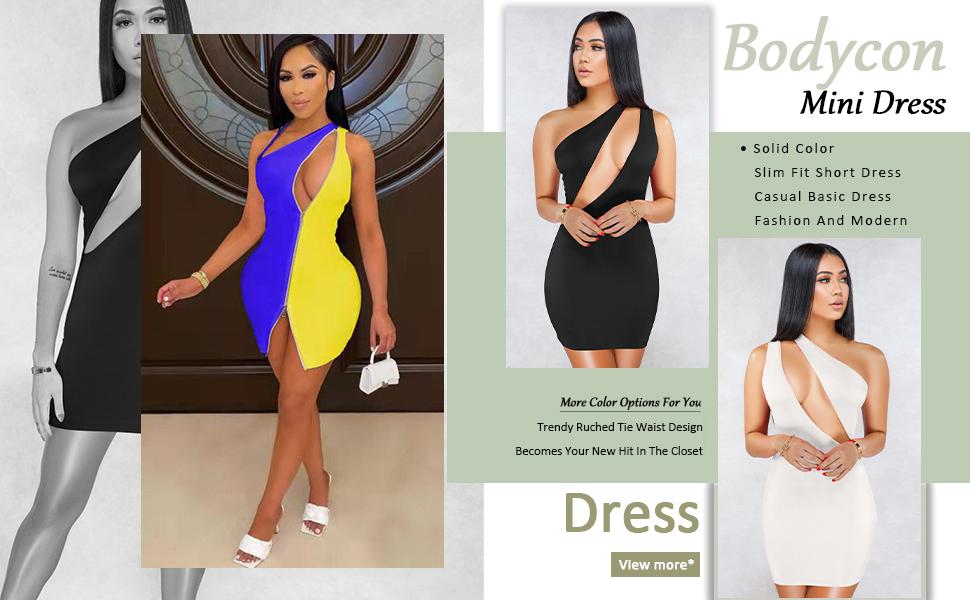 ECHOINE Women's Sexy One Shoulder Sleeveless Cutout Bodycon Mini Club Dress …