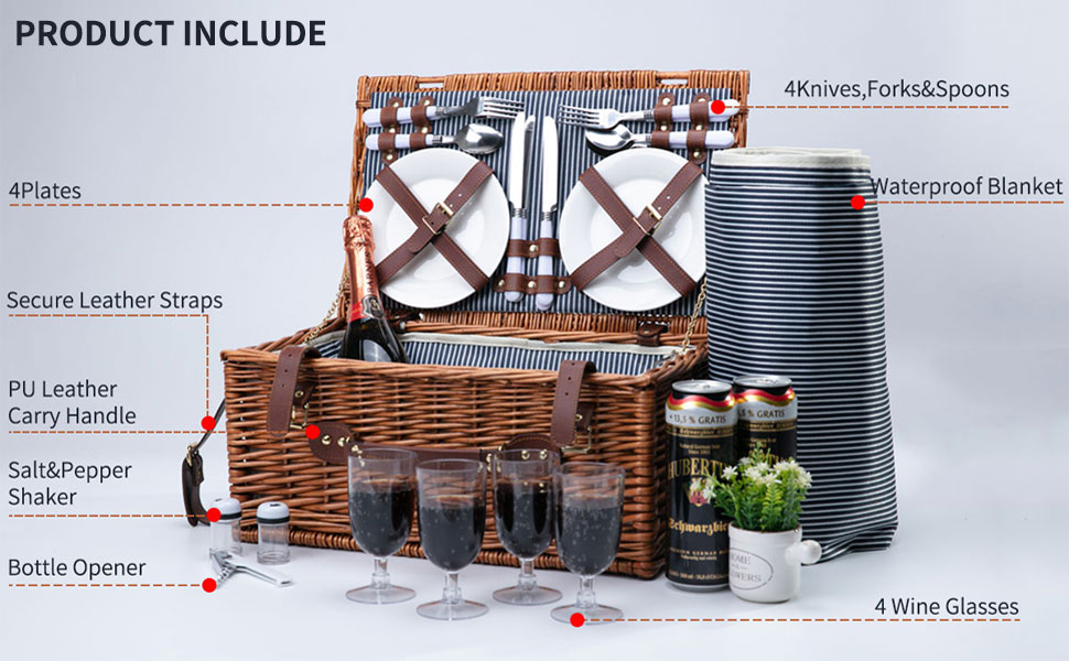 Wicker Picnic Basket for 4 Persons
