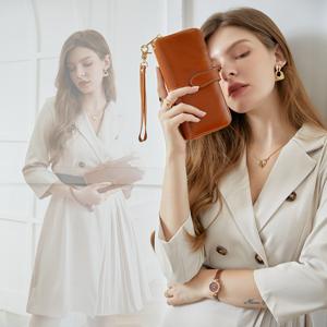 Women's Long Wallets Money Clip Card Case Holder