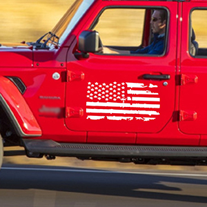 TOMALL American Flag Distressed Decal for Auto Hood USA Flag Stripe Graphic Vinyl