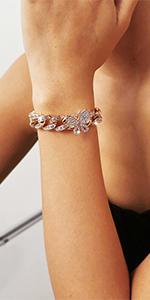 gold butterfly cuban link chain bracelet