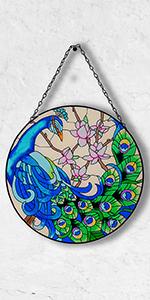 Peacock Glass Wall Window Decorative