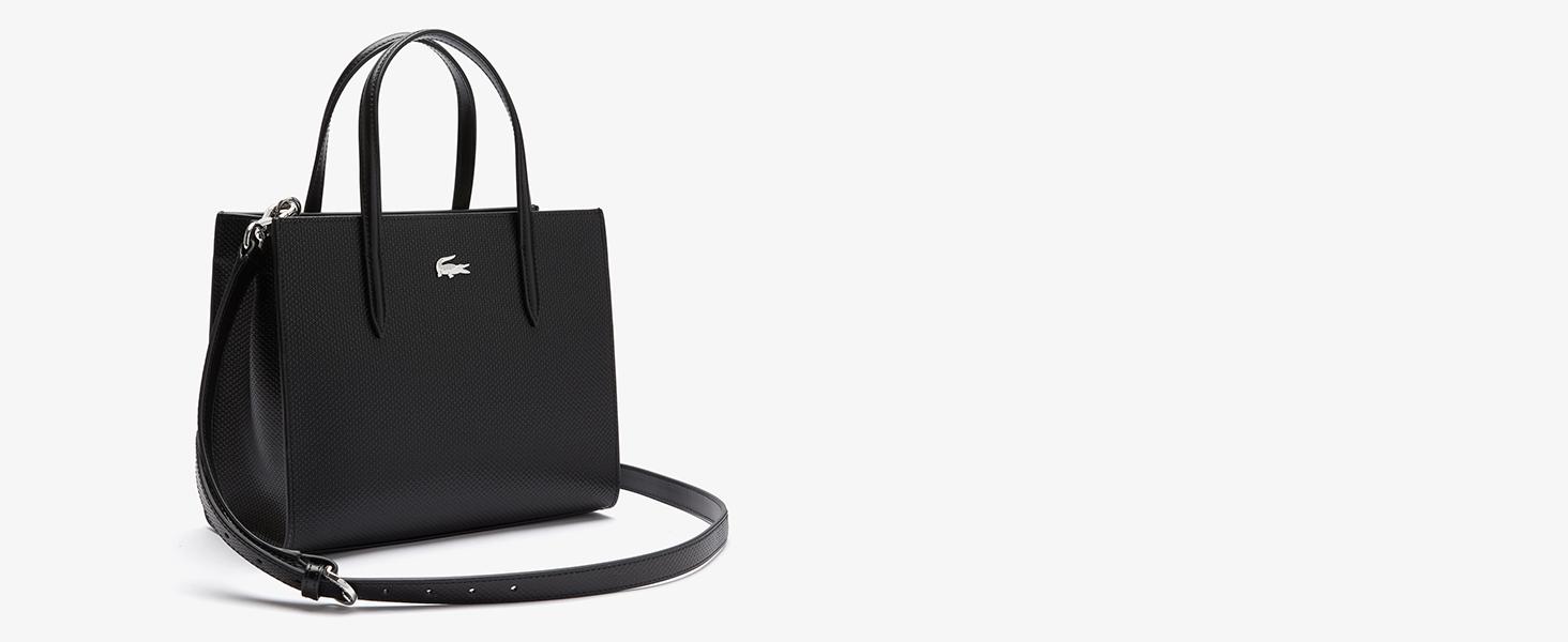 Schwarze Ledertasche für Damen von Lacoste