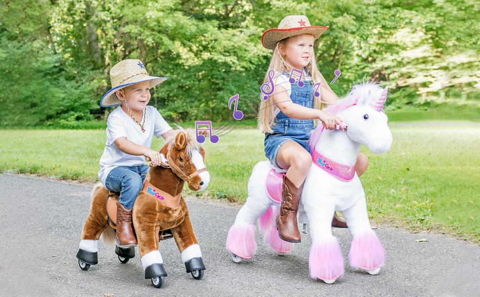 ponycycle ride on unicorn horse toy for boys and girls