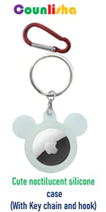 Counlisha fashion silicone case (cute mouse style ) with key chain for Airtags