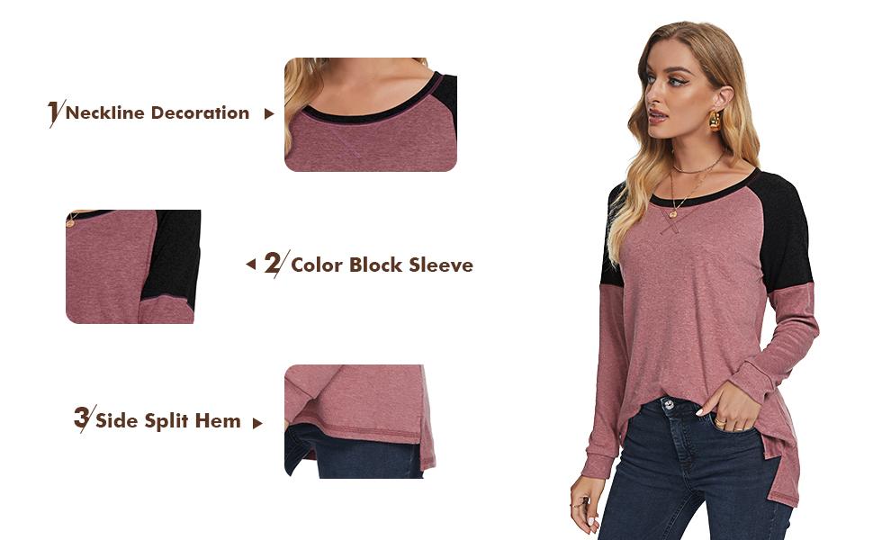 AYIFU womens casual long sleeve tunic tops fall side split color block blouse