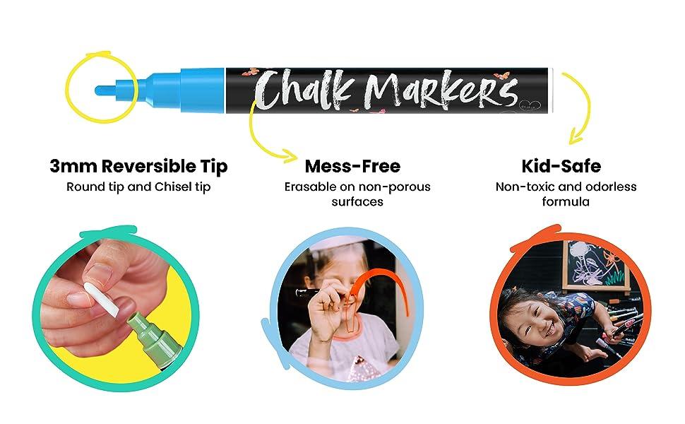 Chalkola Chalk Markers - Pack of 40 (Neon, Classic amp; Metallic) Chalk Pens