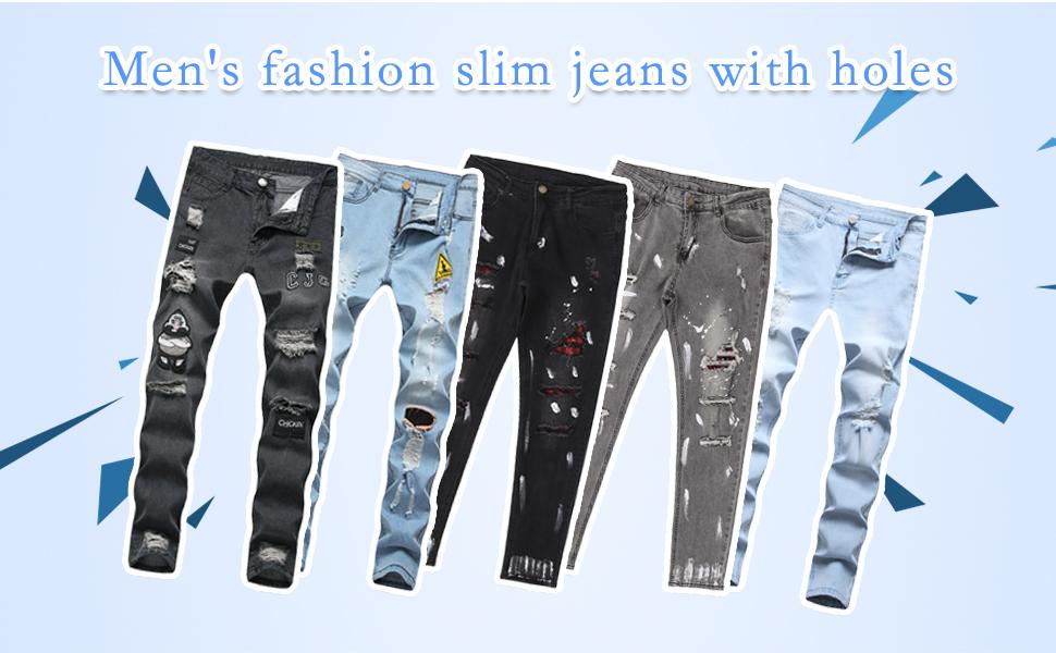 Men's Super Comfy Stretch Skinny Biker Denim Jeans Pants