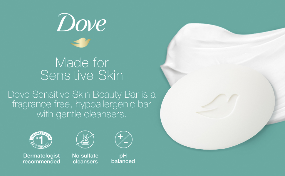 Image of Dove Beauty Bar with text reading amp;#34;Made for Sensitive Skin.