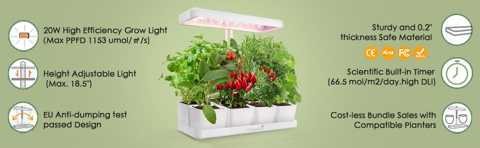 GrowLED  plant grow light is built with food grade safe material and anti-dumping test design
