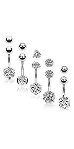 Belly Button Rings Stainless Steel CZ