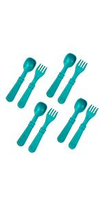 teal spoon and fork utensil set for kids and adults