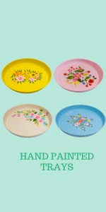 Decorative Round Floral Serving Tray – Hand Painted by Indian Artisans