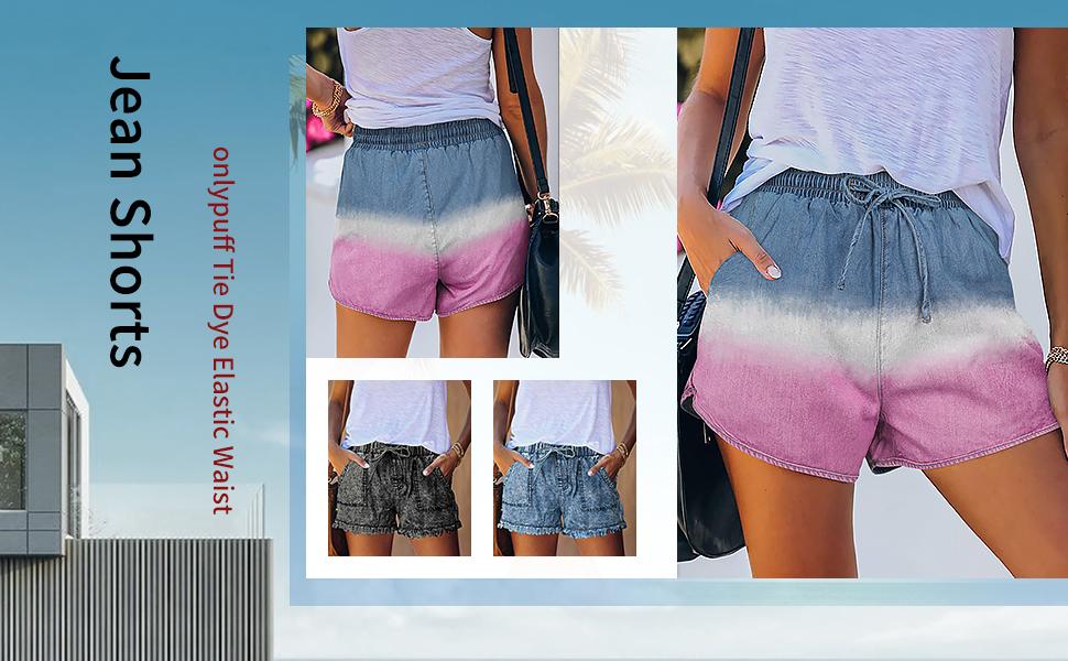 women elastic waist jean shorts