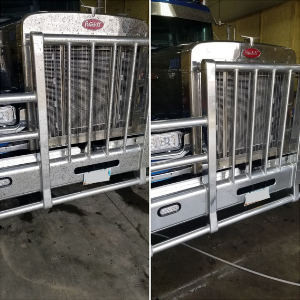 Before and after shot of the front of a Peterbilt.