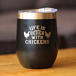 """Text says """"Life is Better with Chickens"""" with designs of chickens"""