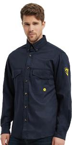 7.5 oz flame resistant shirts long sleeve with button closure