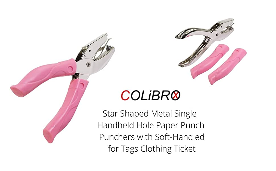 Star Shaped Metal Single Handheld Hole Paper Punch Punchers with Soft-Handled for Tags Clothing