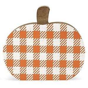 fall autumn theme wooden block signs plaid pumpkin detail feature
