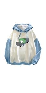 Kawaii Pullover Hoodie Frog Print Hoodies