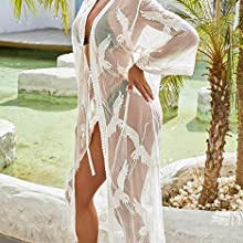 women Flowy Maxi Bathing Suit Swimsuit Tie Front Robe Cover Up