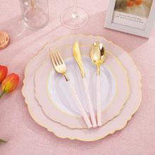 Pink plastic plates