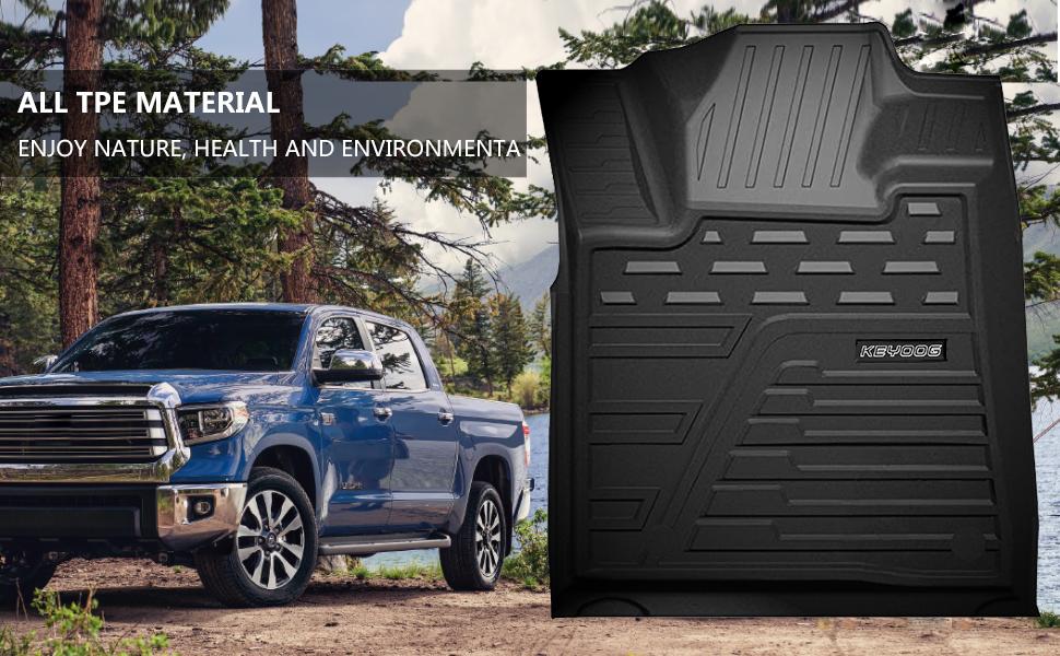 Car Floor Mats, Black, 2014-2021 Toyota Tundra 4-Doors Double Cab and Crew Max Cab
