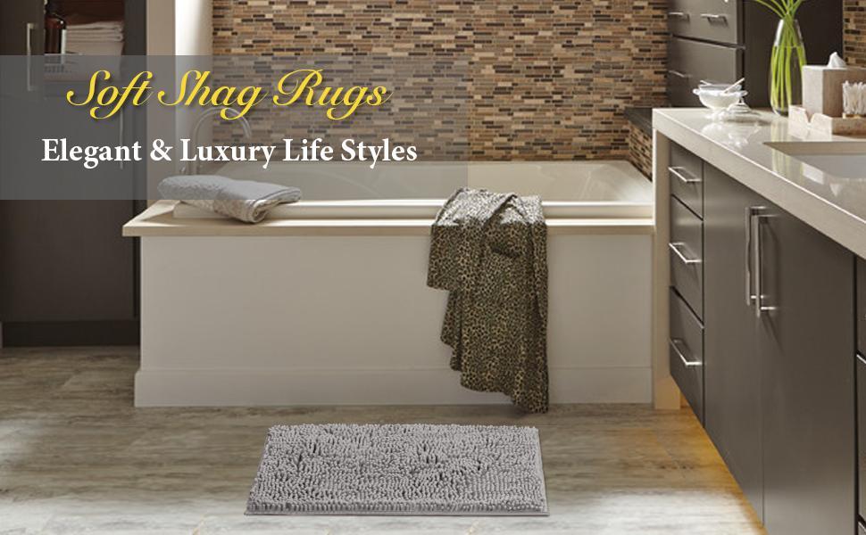 Super Luxury Shaggy Bath Rug Runner Non Slip Chenille Bathroom Absorbent Floor Mat