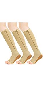 3 Pairs Zipper Compression Socks