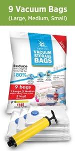 9 Vacuum Bags (3L+ 3M+ 3S)