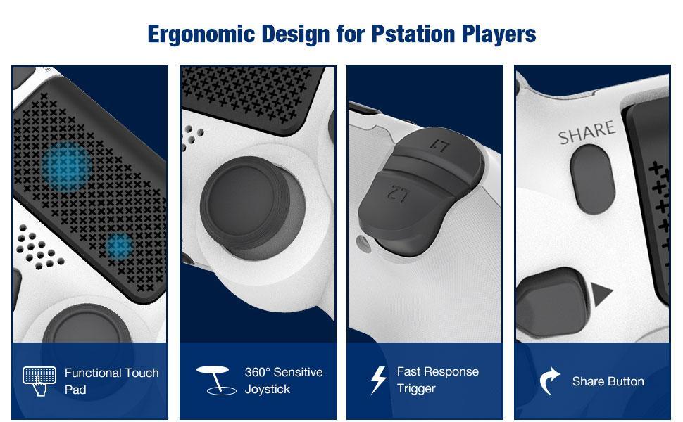 Pstation 4 game Controller Gamepad Remote Vibration Headset Jack Compatible PS-4 Pro Slim White