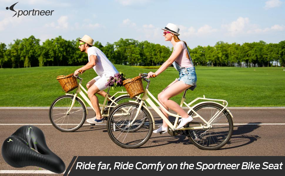 Memory Foam Bike Seat for Women and Men Comfort Wide