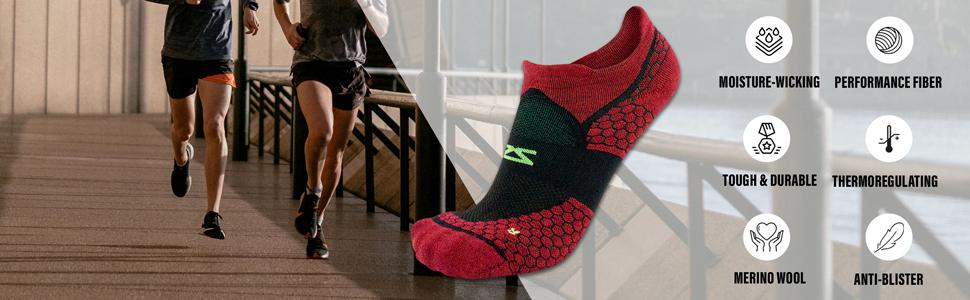 wool running sock, padded socks for running, anti blister socks, moisture wicking socks