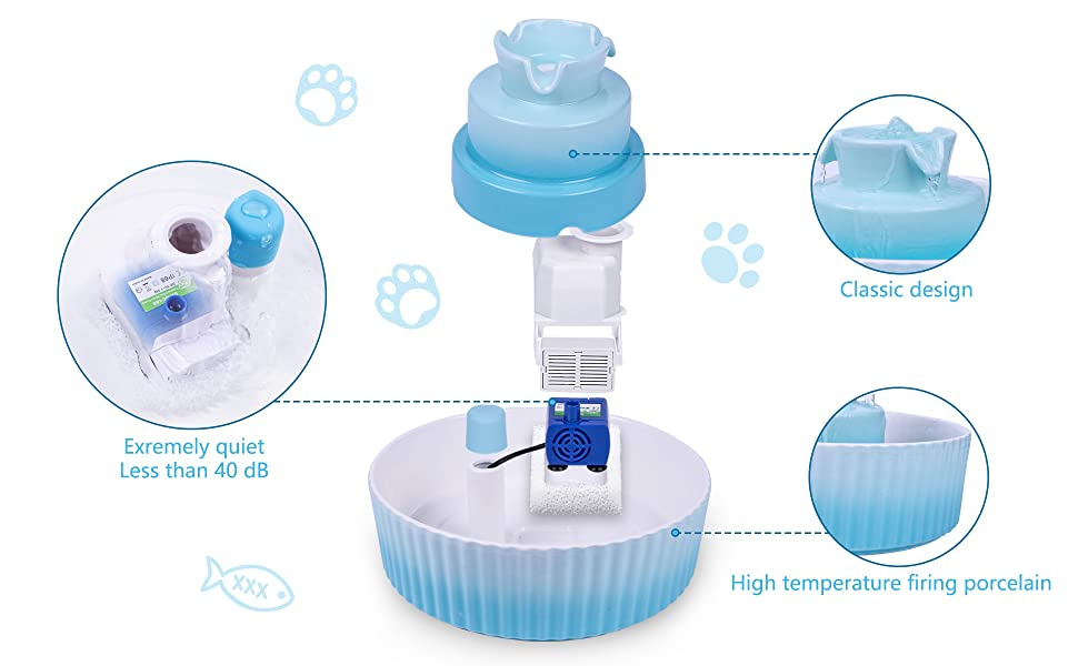 The pet fountain is made of high-quality porcelain.