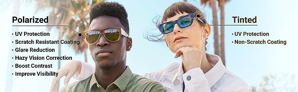 polarized uv protecton scratch resistant coating glare reduction hazy vision correction boost