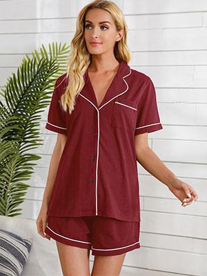 Womens Short Sleeve Pajamas Set Shorts V-Neck 2 Piece Button Down Shirt Sleepwear Soft PJ Sets