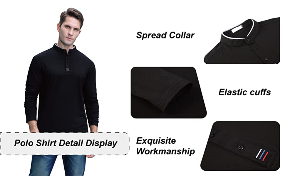 Long Sleeve Polo Shirts Quick Dry 3 Buttons
