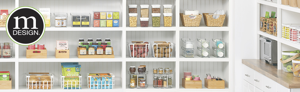 kitchen pantry setting, white shelves, bins, baskets holding organized food items with mDesign logo