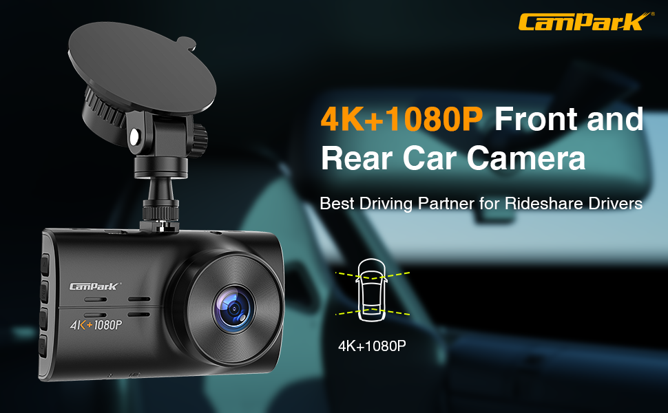 4K + 1080P Front and Rear Car Camera