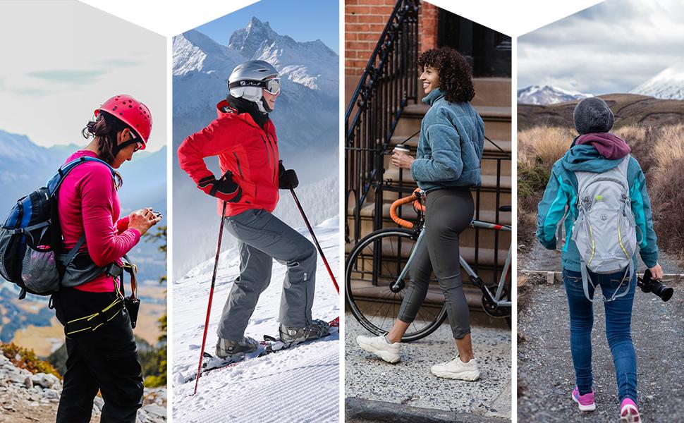 hiking skiing