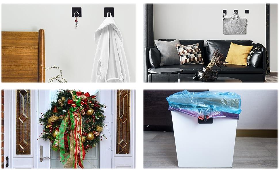 Black Adhesive Hooks for bathroom kitchen bedroom living room