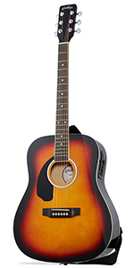 Sunburst Left Handed Dreadnought Acoustic Electric Guitar