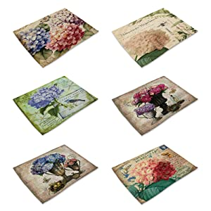 HACASO Set of 6 Vintage Style Pattern Placemats (Painting Flower-2)