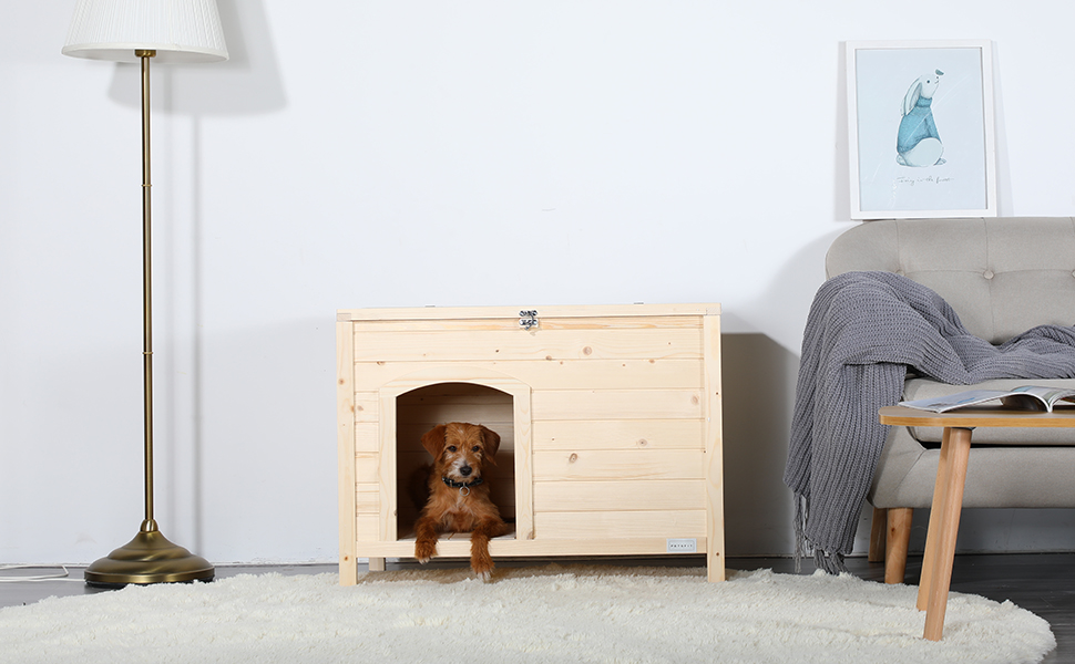 Petsfit Indoor Dog House Insulated Wood Cat Houses for Indoor Cats